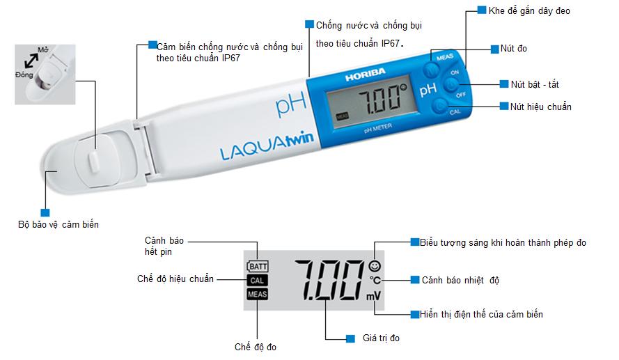 Cấu tạo bút đo pH Nhật Bản
